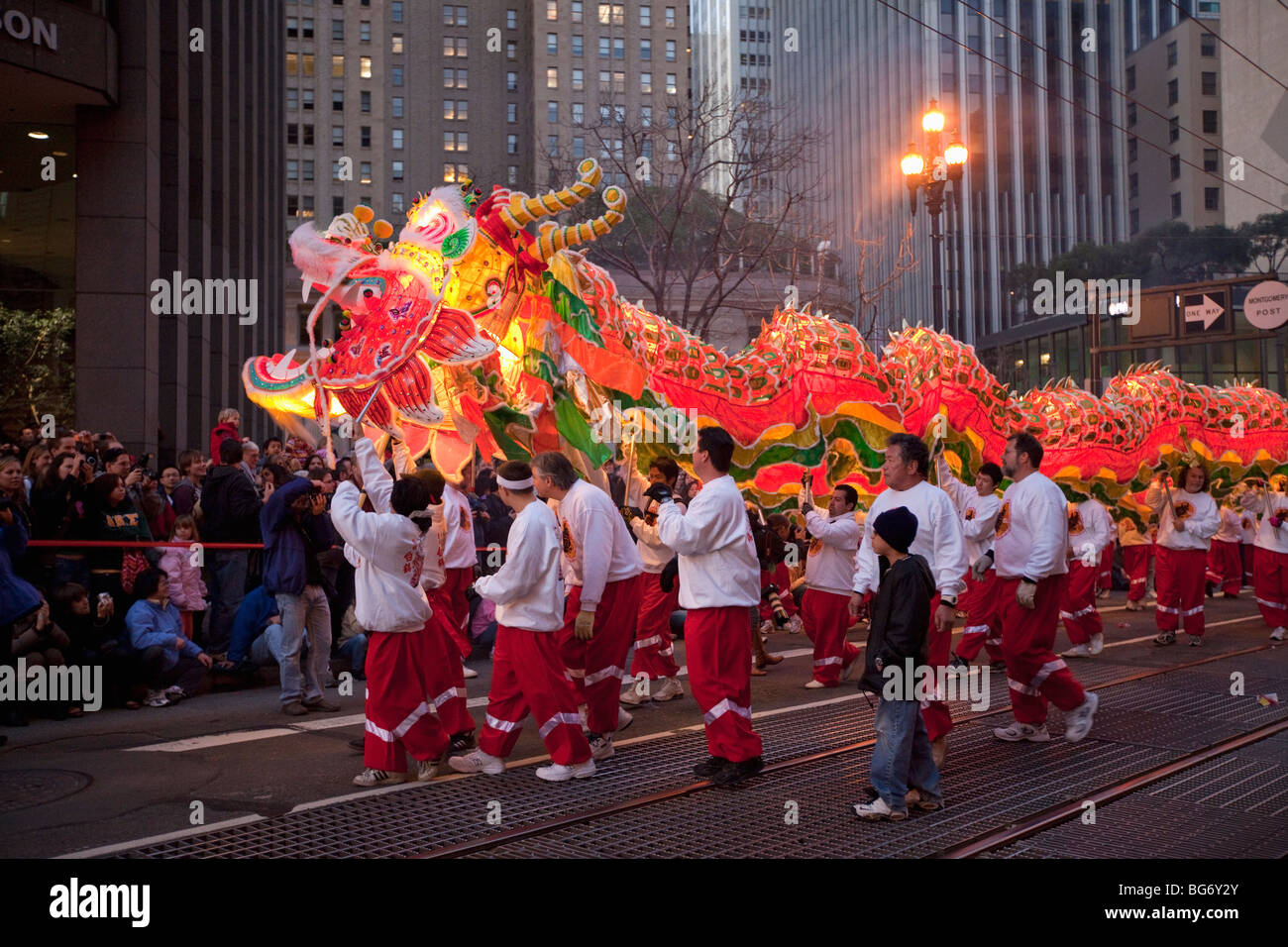chinese new years parade with dragon begins on market street in san francisco california - Chinese New Year San Francisco
