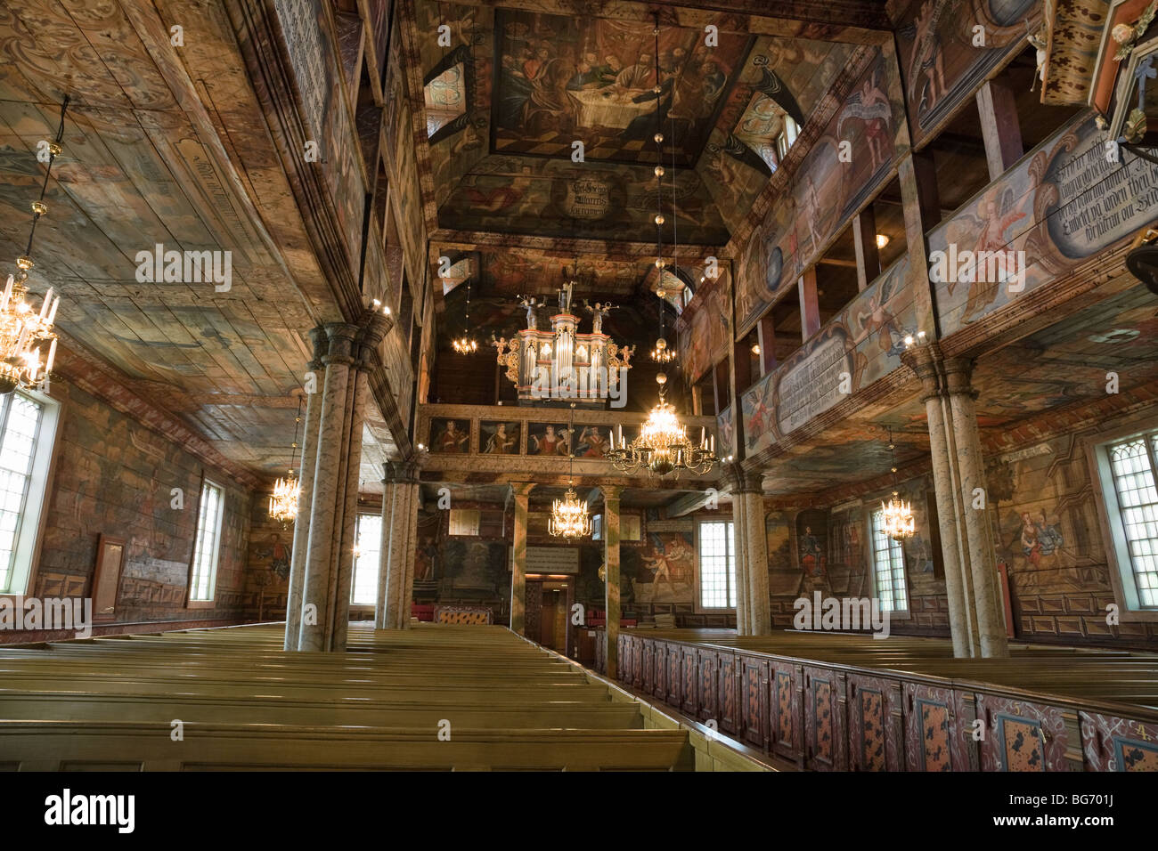 Interior Of An Old Wooden Church Habo In Sweden The