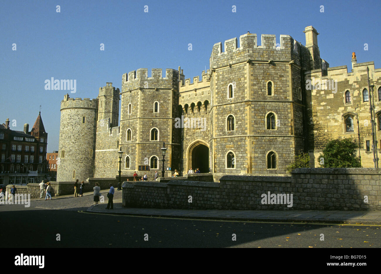 The Front Gate And Walls Of Windsor Castle Home To The