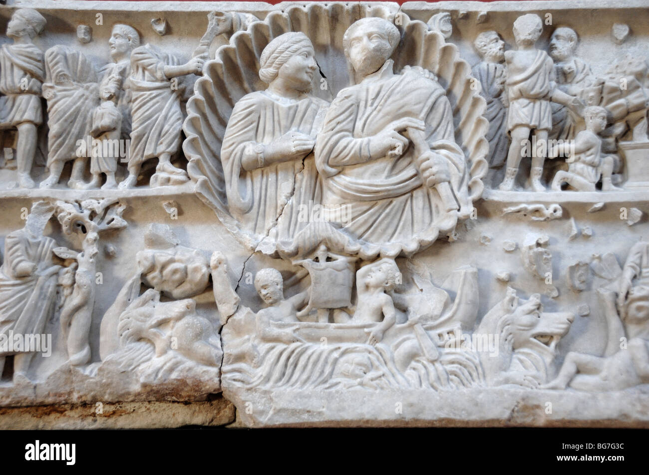 Jonas sarcophagus c ad roman marble bas relief or tomb