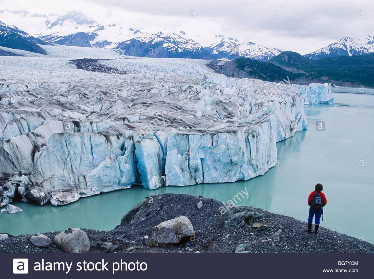 Alaska. Hiker views ti...