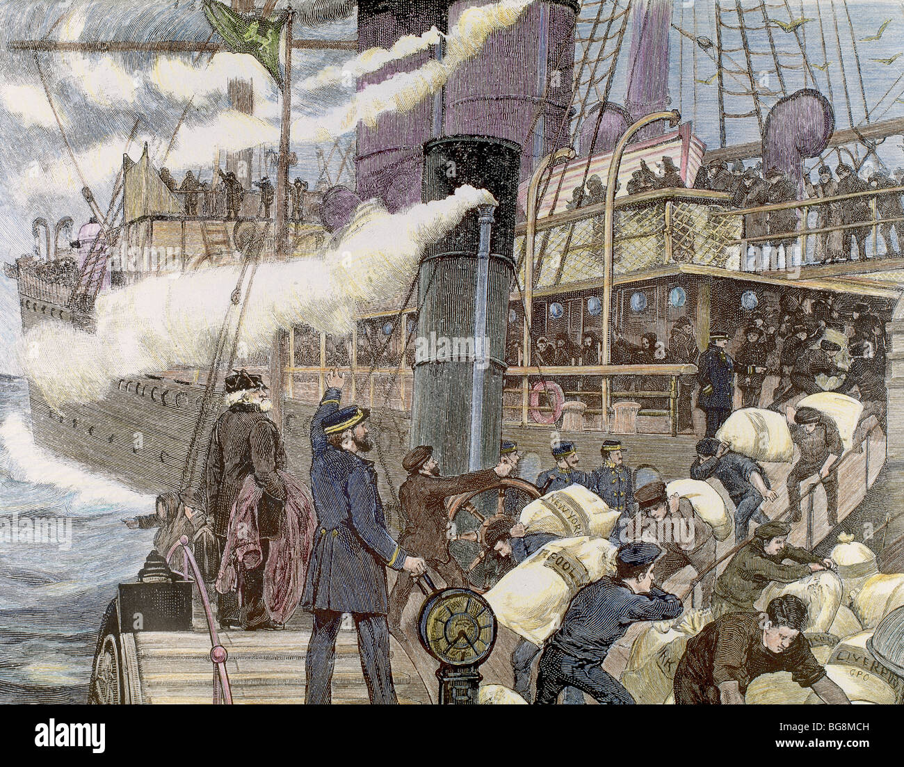 Whalers in action wood engraving published in 1855 stock illustration - Boat Carrying Goods In The Port Of London Xix Century Colored Engraving Stock