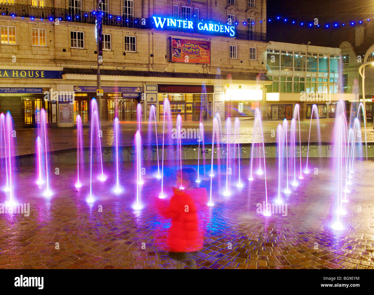 illuminated fountains and winter gardens at night blackpool stock