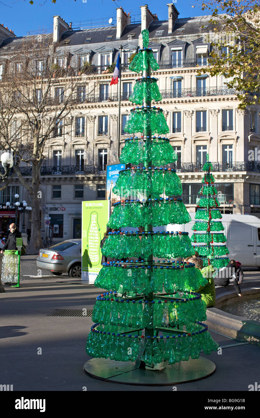 Christmas tree made from recycled green plastic bottles in Christmas tree ideas using recycled materials