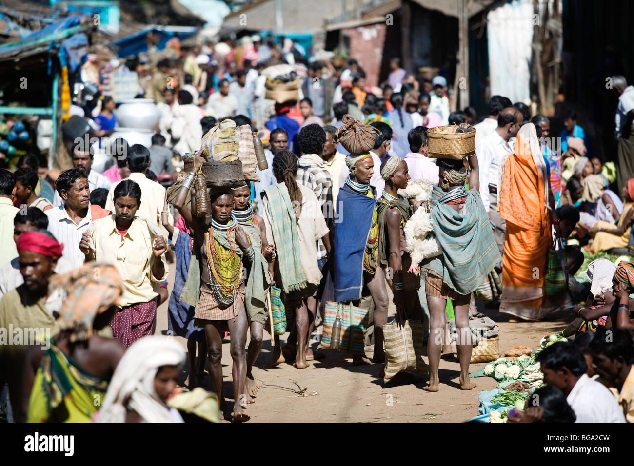 naked tribe Bondo (naked tribe) women at Onkadelli's Tuesday market in Orissa state,  India.