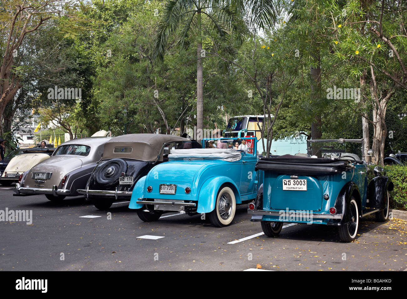 Line up of classic motor cars at a vintage car rally. Thailand S. E ...