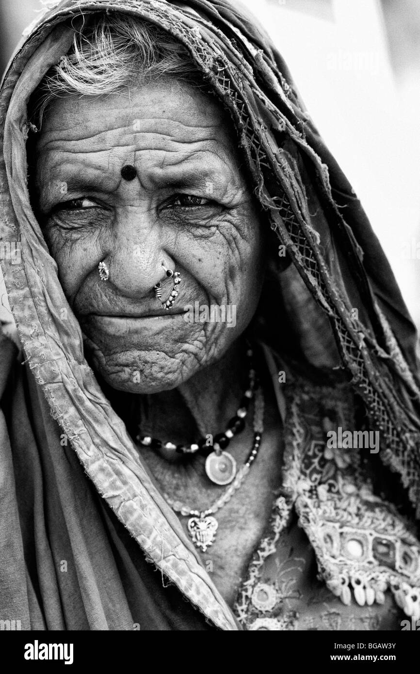 Old indian tribal women portrait monochrome stock photo