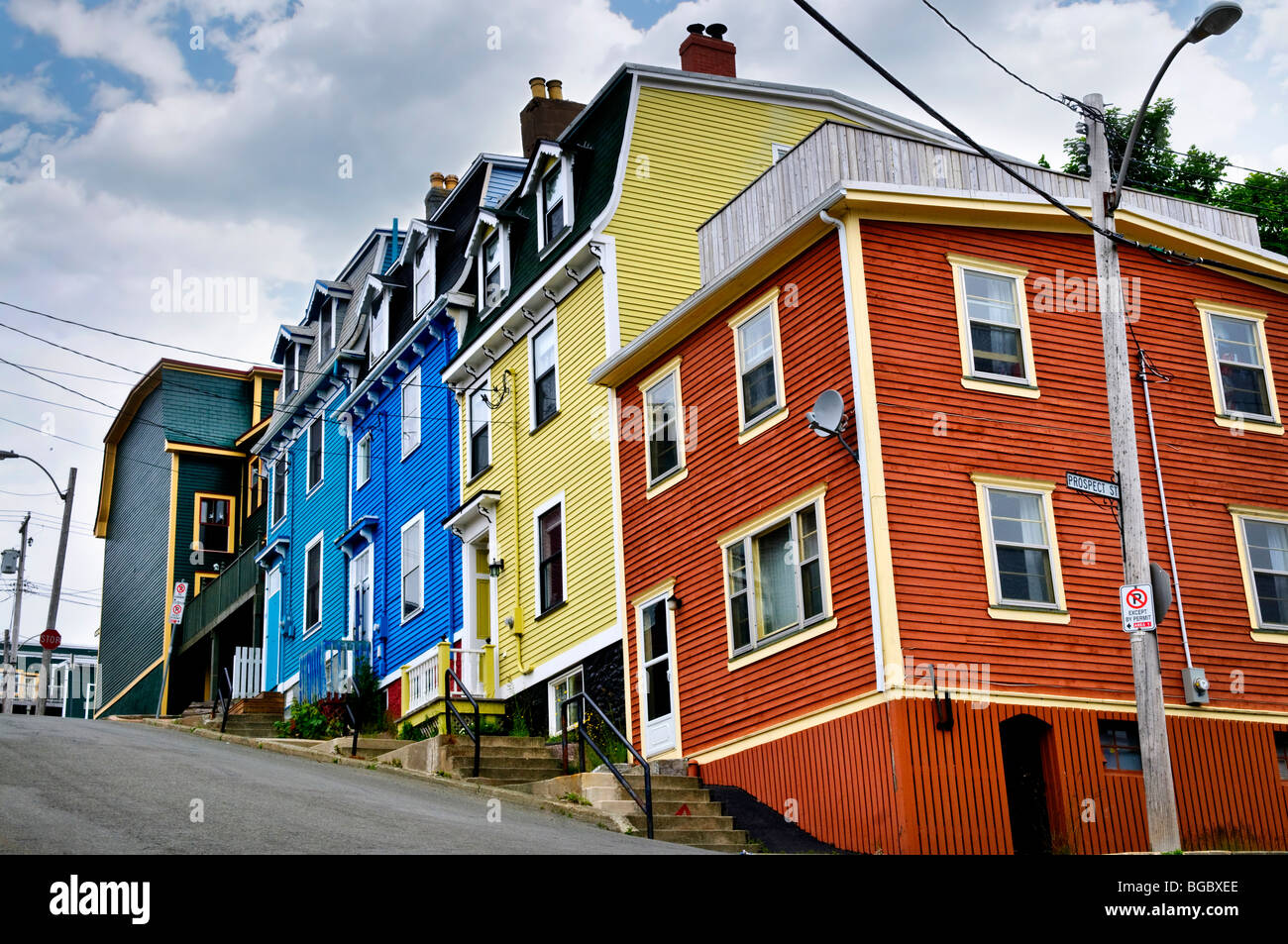 Colorful houses on hill in st john 39 s newfoundland for Newfoundland houses