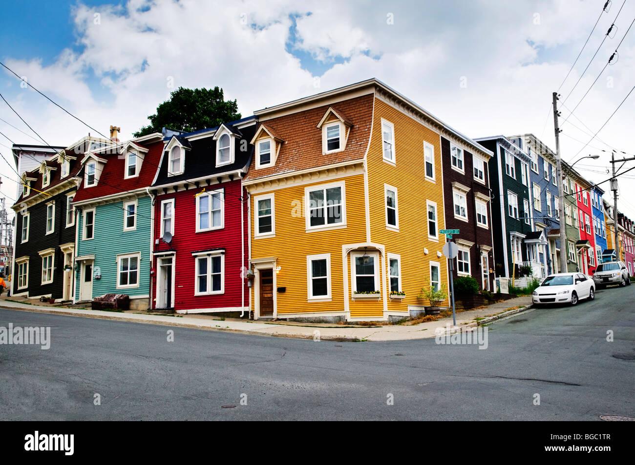Colorful houses on street corner in st john 39 s for Newfoundland houses