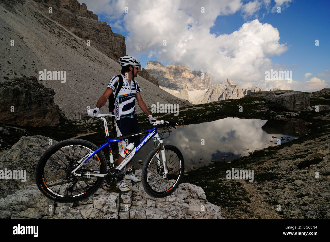 Mountain Bike Pro Roland Stauder On Patern Pass Overlooking The