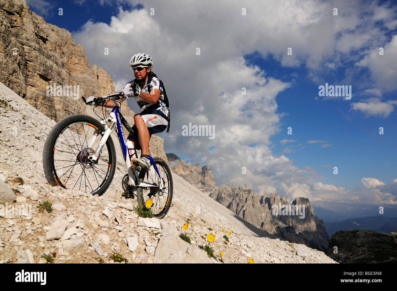 Mountain Bike Pro Roland Stauder In Front Of Patern Pass Alta