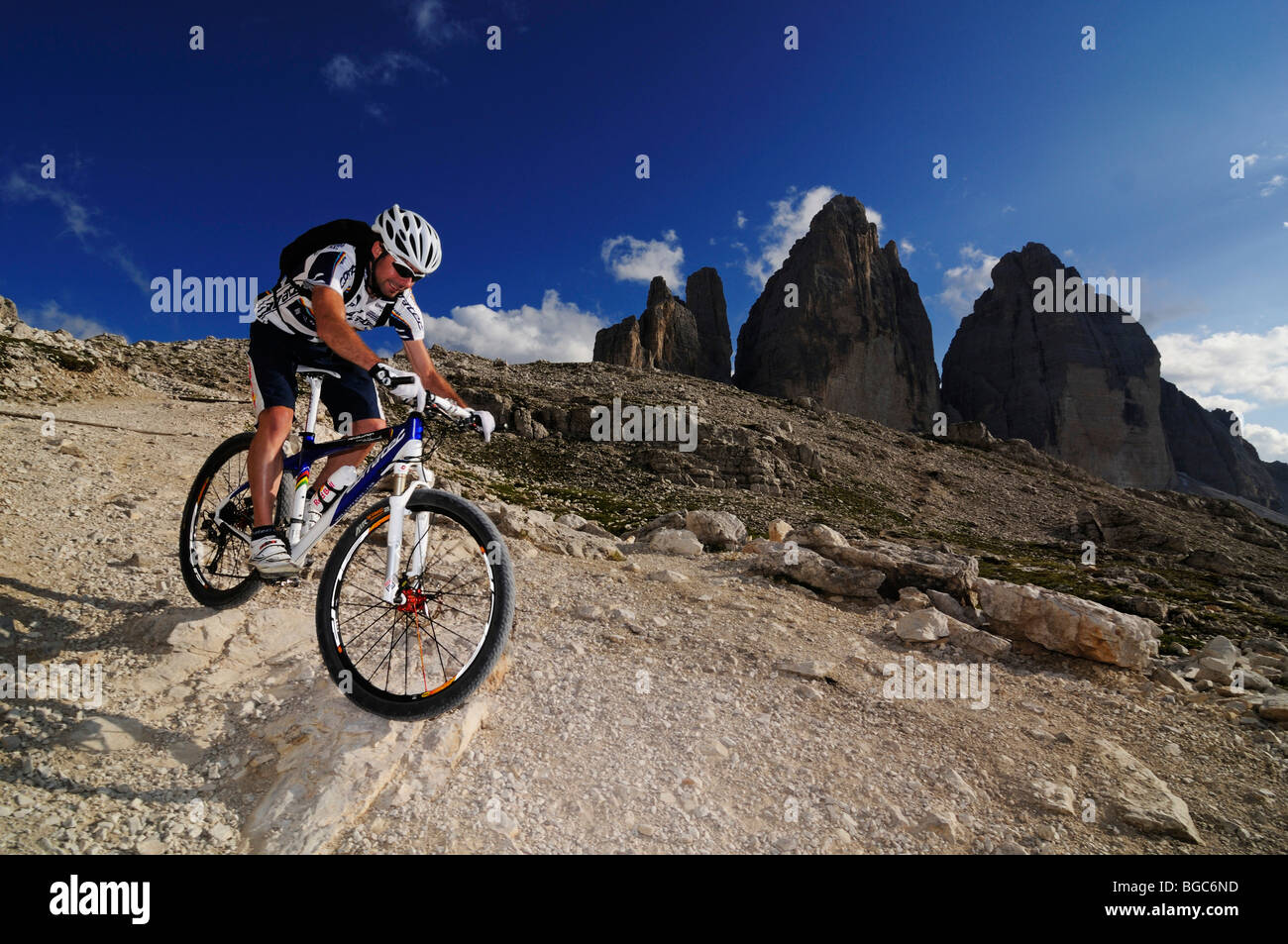 Mountain Bike Pro Roland Stauder In Front Of The Tre Cime Di Stock