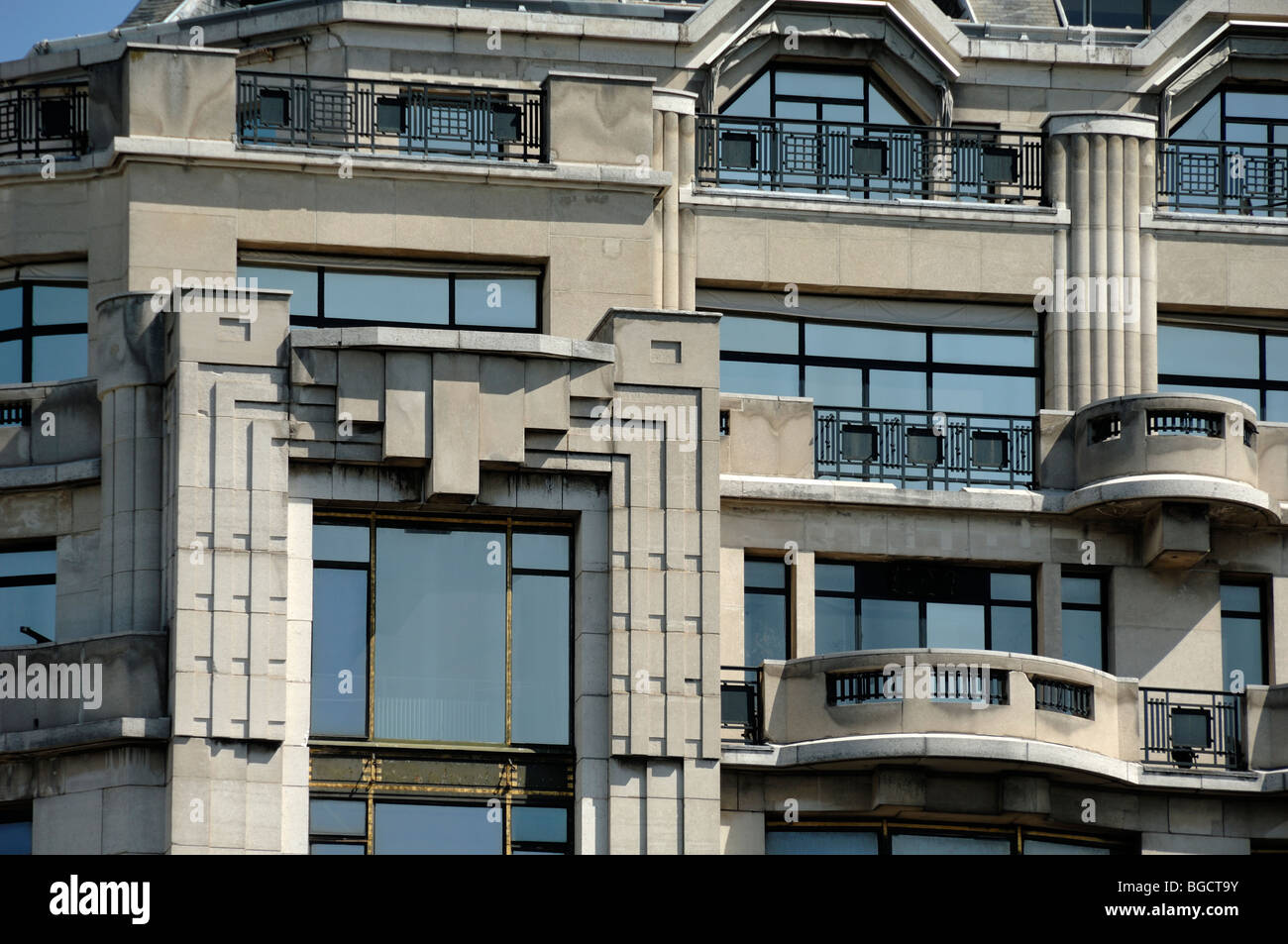 art deco balconies facade of the la samaritaine department store stock photo royalty free. Black Bedroom Furniture Sets. Home Design Ideas