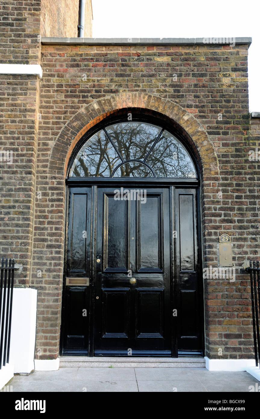 Black Front Door To Georgian House Highbury Place London England UK
