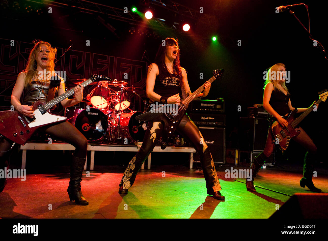 the swedish all female heavy metal band crucified barbara live in the stock photo royalty free. Black Bedroom Furniture Sets. Home Design Ideas