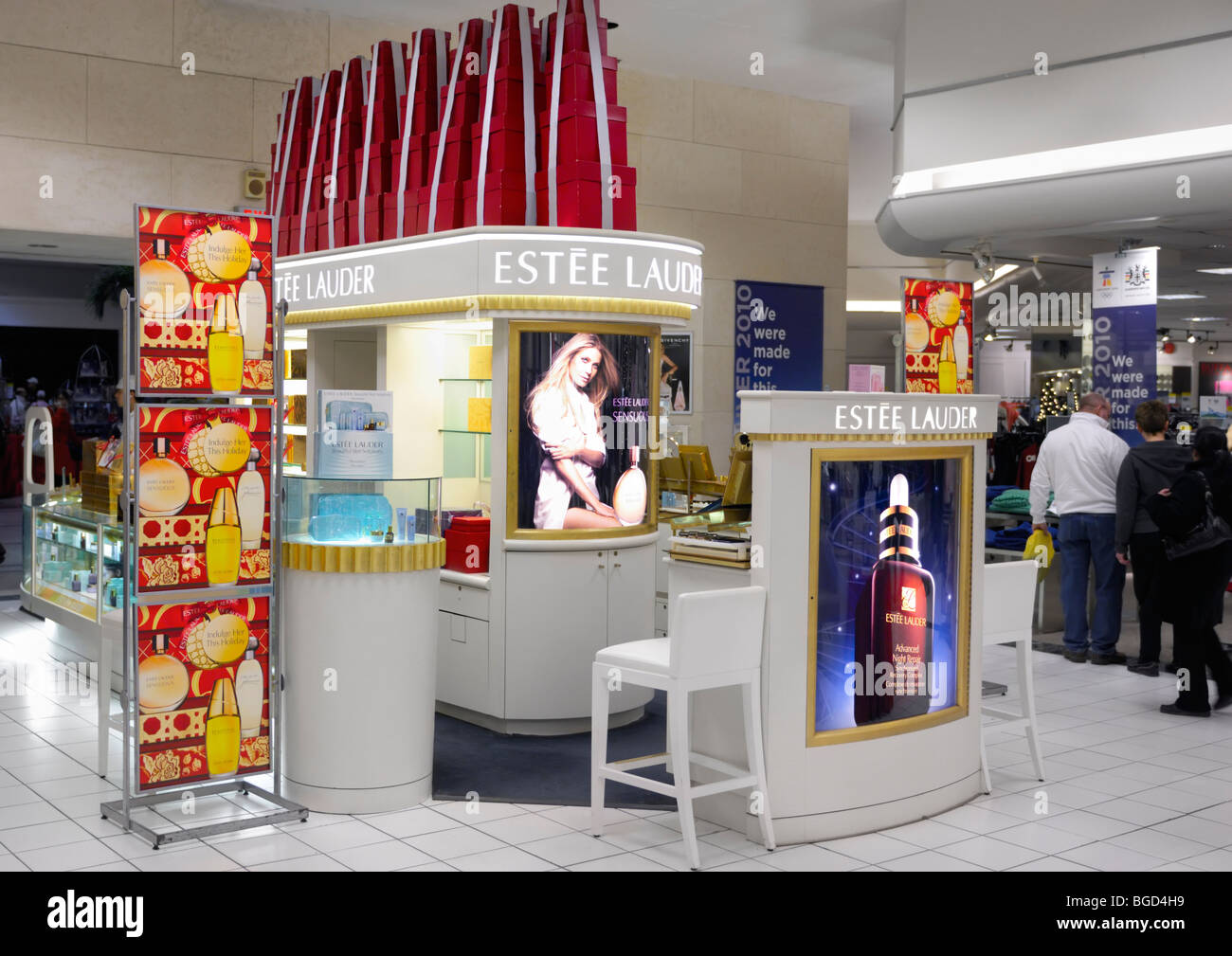 Stock Photo - Estee Lauder cosmetics and makeup display in a shopping mall in Toronto, Canada