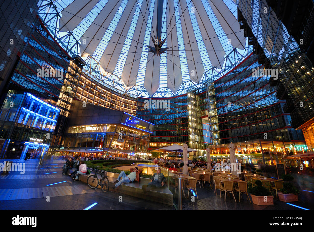 under the roof of sony center potsdamer platz nightlife stock photo royalty free image. Black Bedroom Furniture Sets. Home Design Ideas