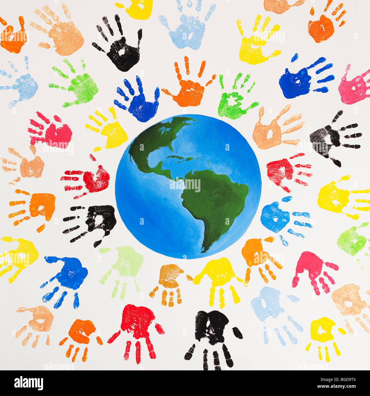 Helping Hands Of America >> Multicoloured painted children's hand prints around the world Stock Photo, Royalty Free Image ...