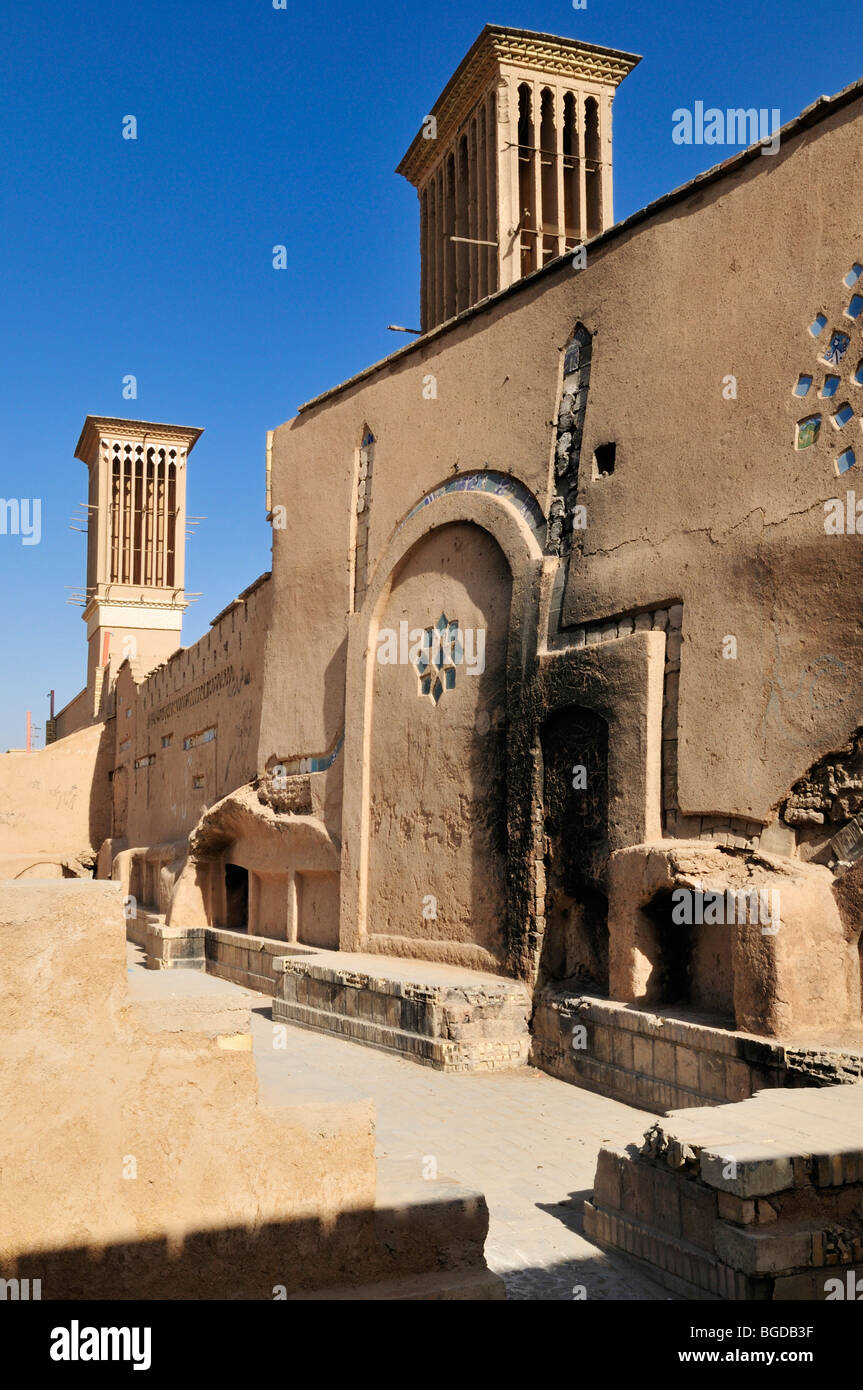 Adobe building with windtower in the historic town of Yazd UNESCO