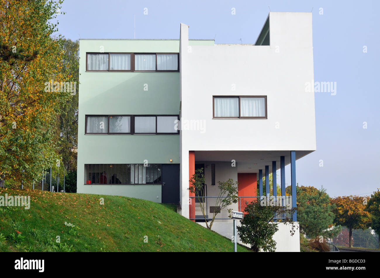 weissenhofsiedlung weissenhof settlement two family house stock photo royalty free image. Black Bedroom Furniture Sets. Home Design Ideas