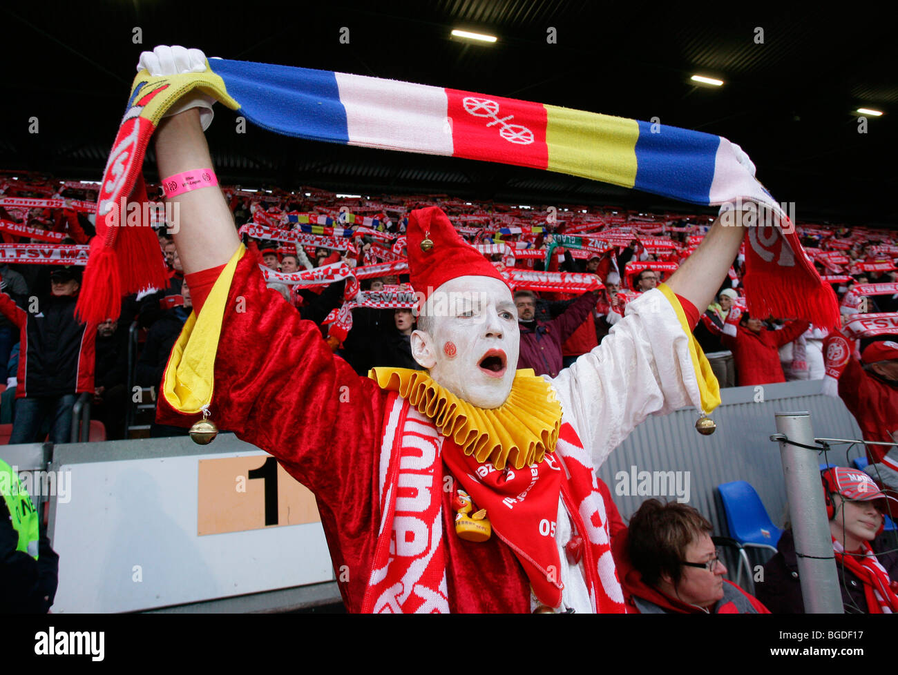 mainz fan in carnival costume soccer bundesliga fsv mainz 05 vs stock photo royalty free. Black Bedroom Furniture Sets. Home Design Ideas