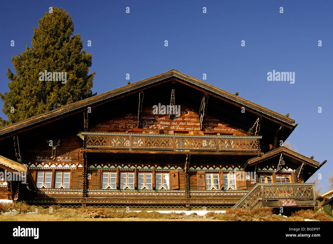 traditional swiss chalet built in 1825 barbeleuse gryon stock photo royalty free image. Black Bedroom Furniture Sets. Home Design Ideas