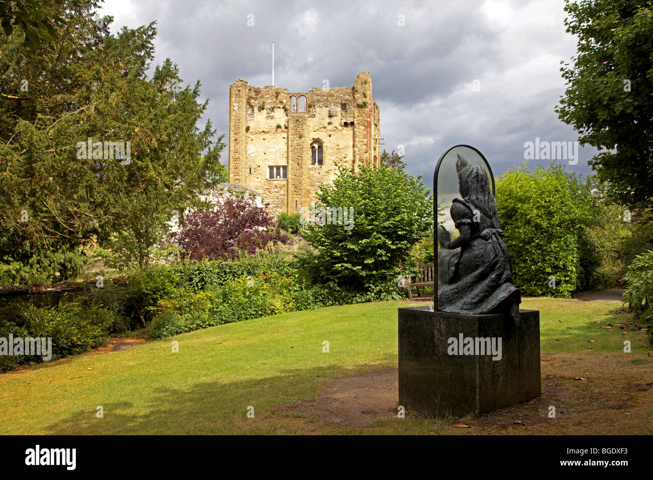 Alice Through The Looking Glass Statue In Castle Grounds