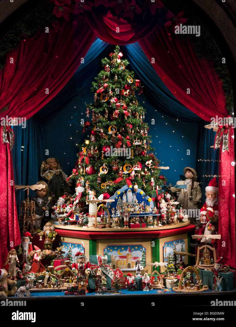Christmas Window Display At Night In The Historic City