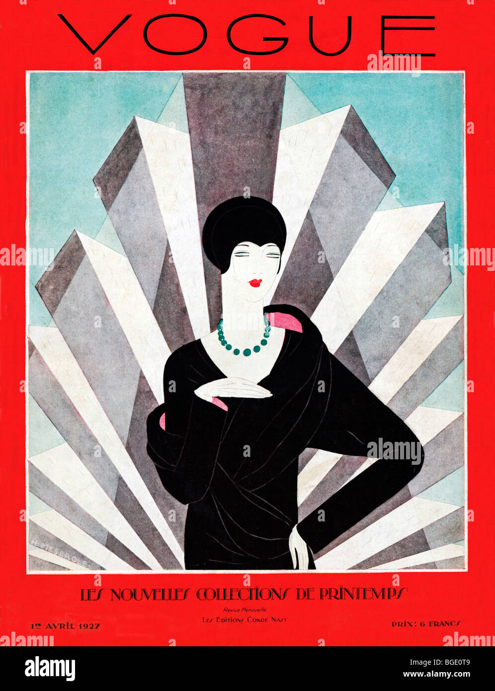 vogue april 1927 art deco cover of the fashion magazine in its stock photo royalty free image. Black Bedroom Furniture Sets. Home Design Ideas