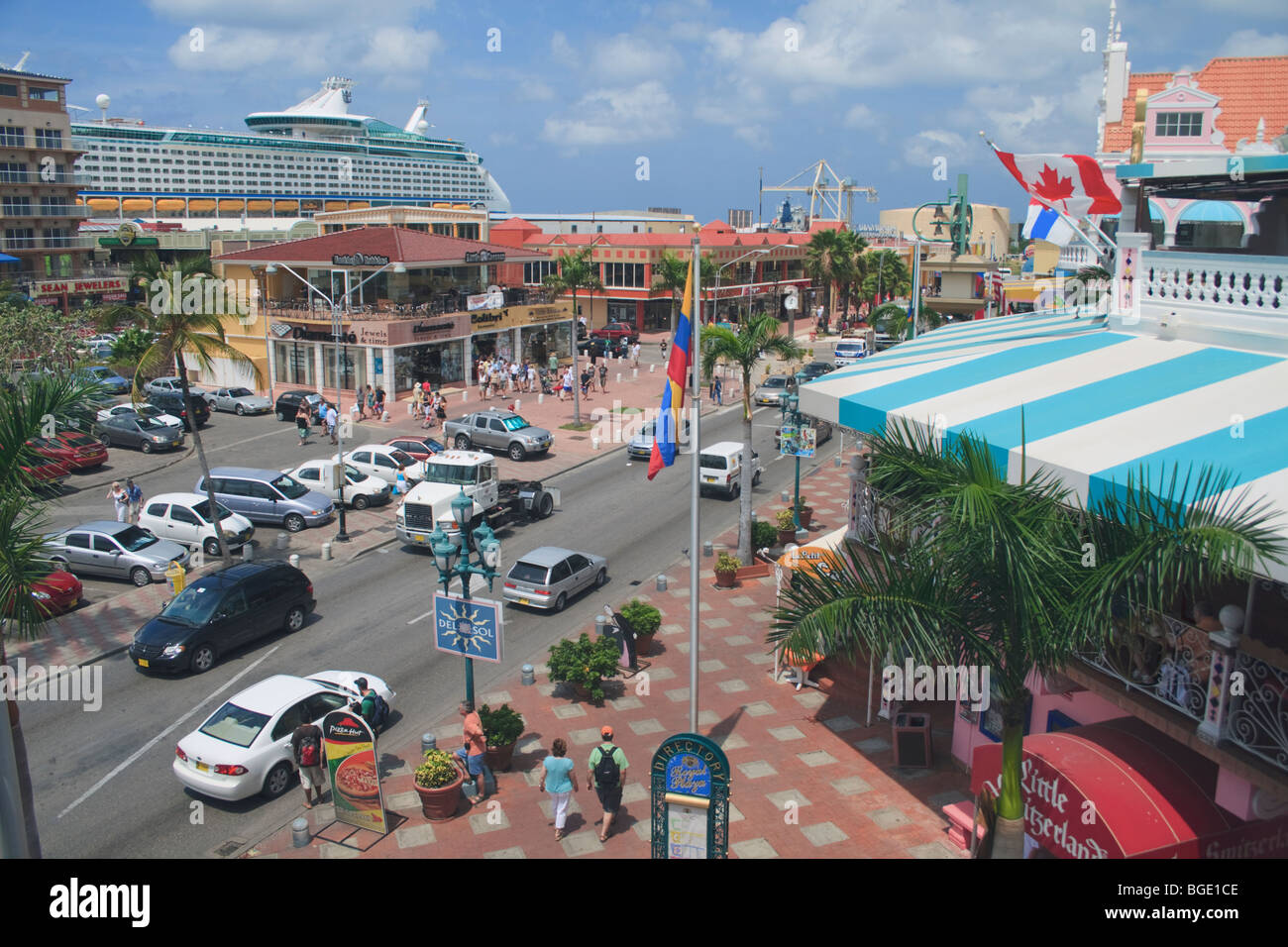 View Of Downtown Oranjestad Aruba From The Royal Plaza Outdoor - Cruise ships in aruba