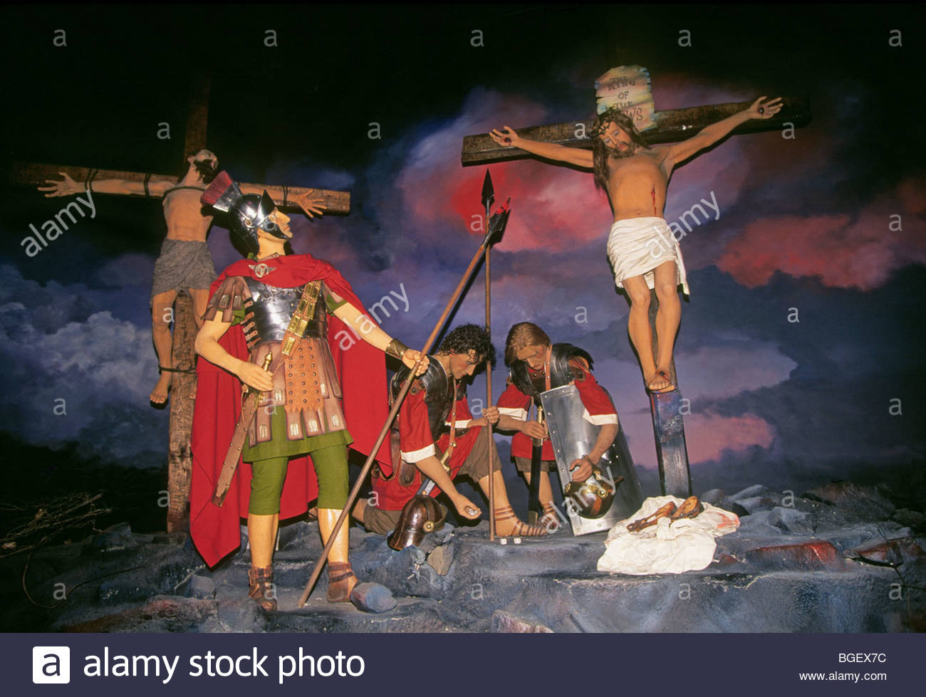 a depiction of roman soldiers and the crucifixion of jesus christ