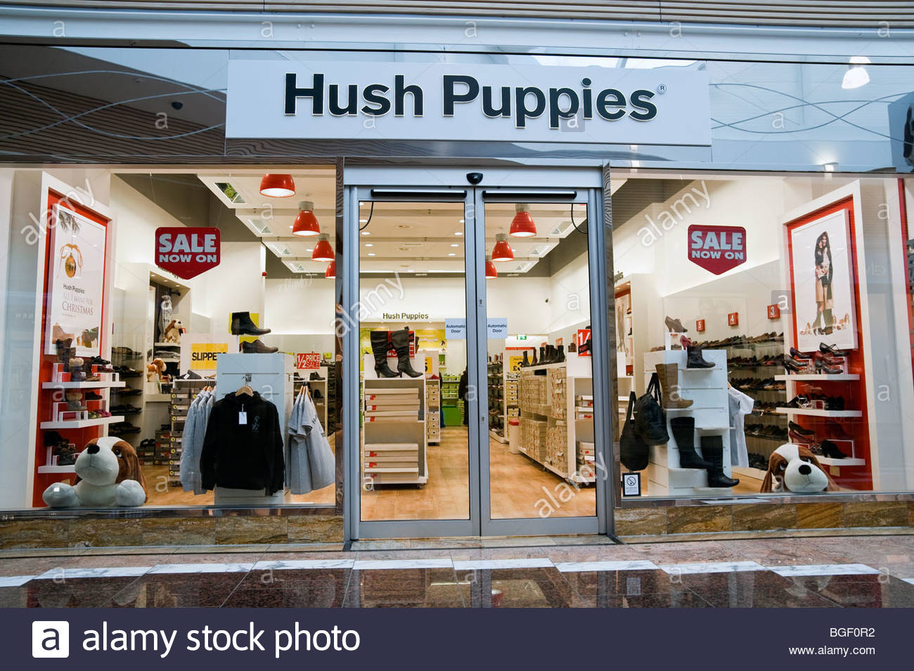 hush puppies shoe shop at gloucester quays designer outlet uk hush stock photo royalty free. Black Bedroom Furniture Sets. Home Design Ideas