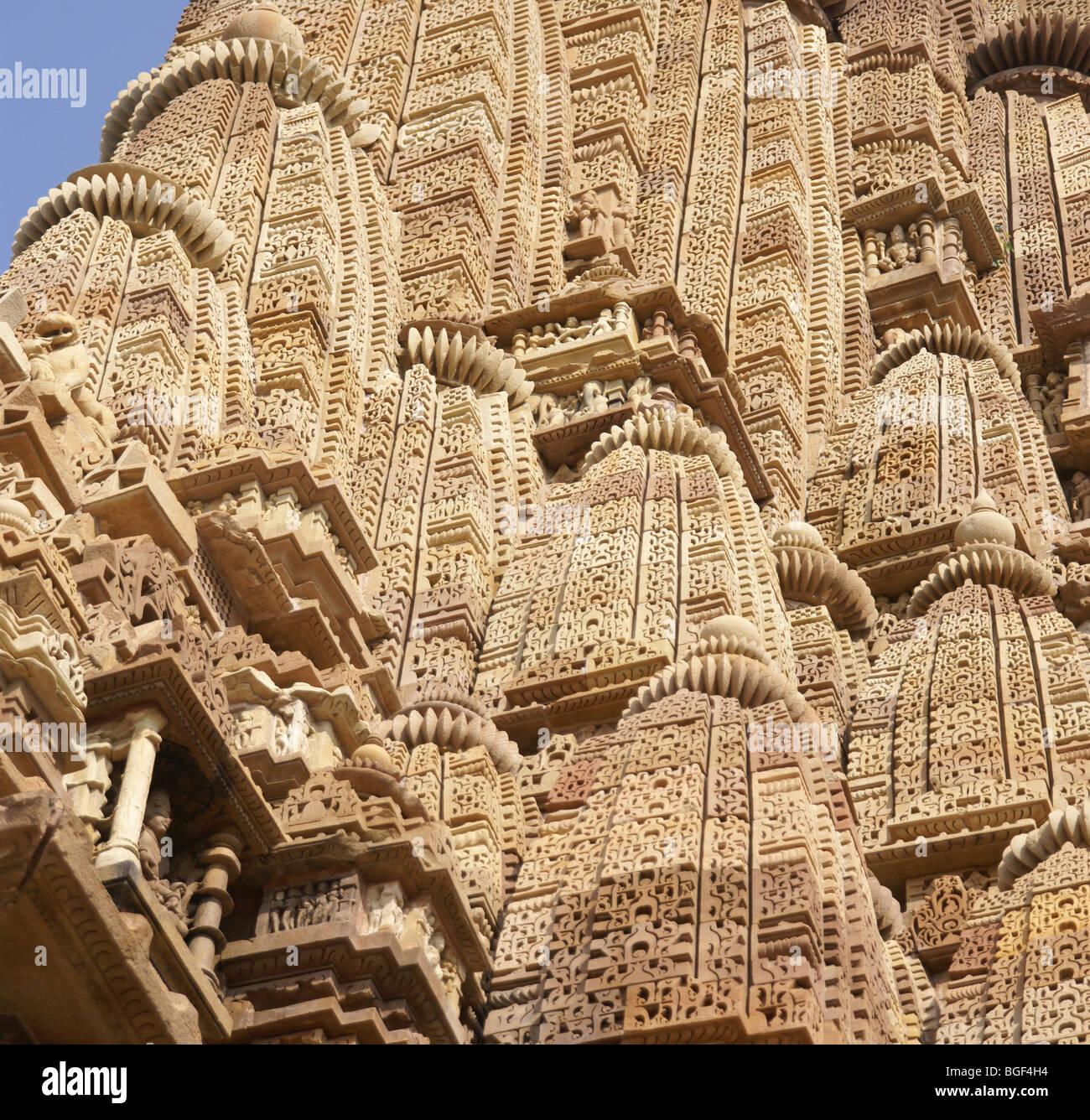 Detail shikhara temple spires of kandariya mahadeva
