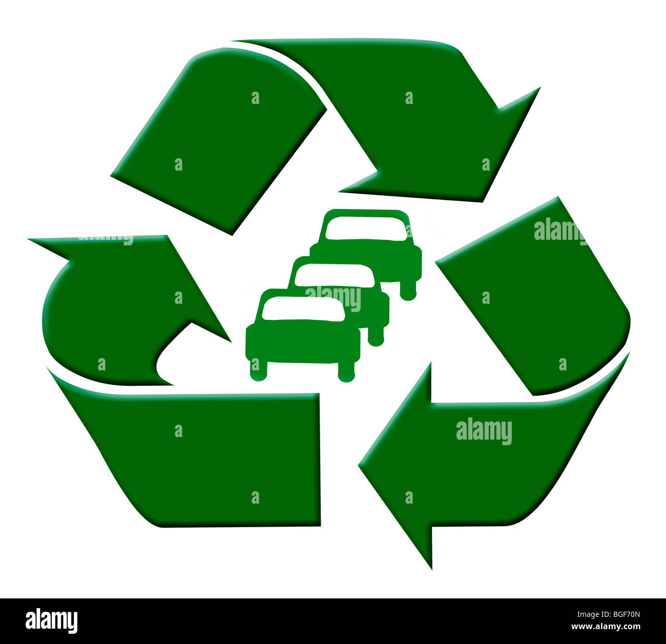 green recycle symbol around green cars could be used for