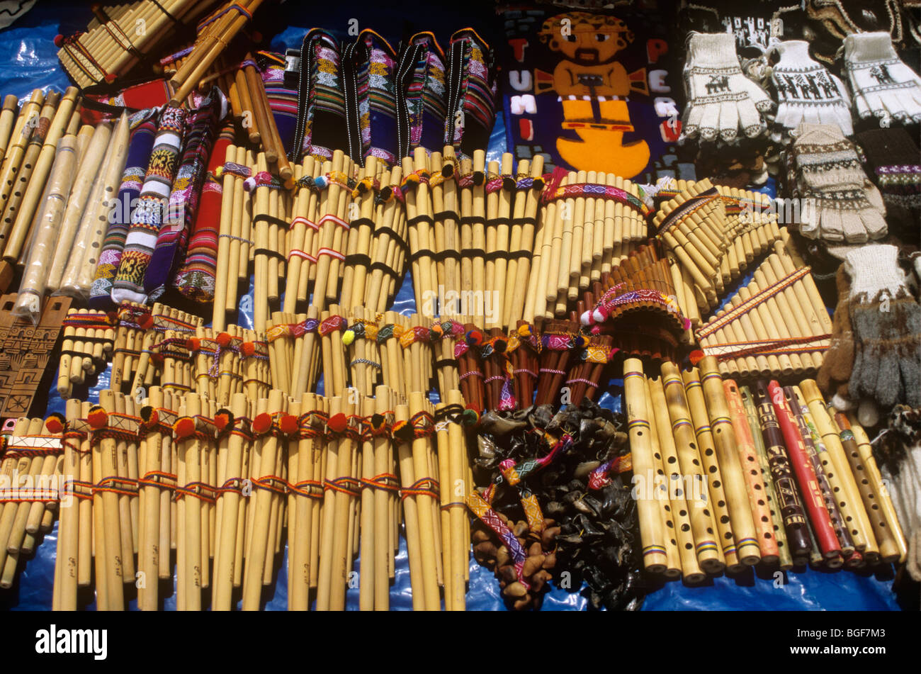 A Display Souvenirs At A Road Side Gift Stall In The Andes
