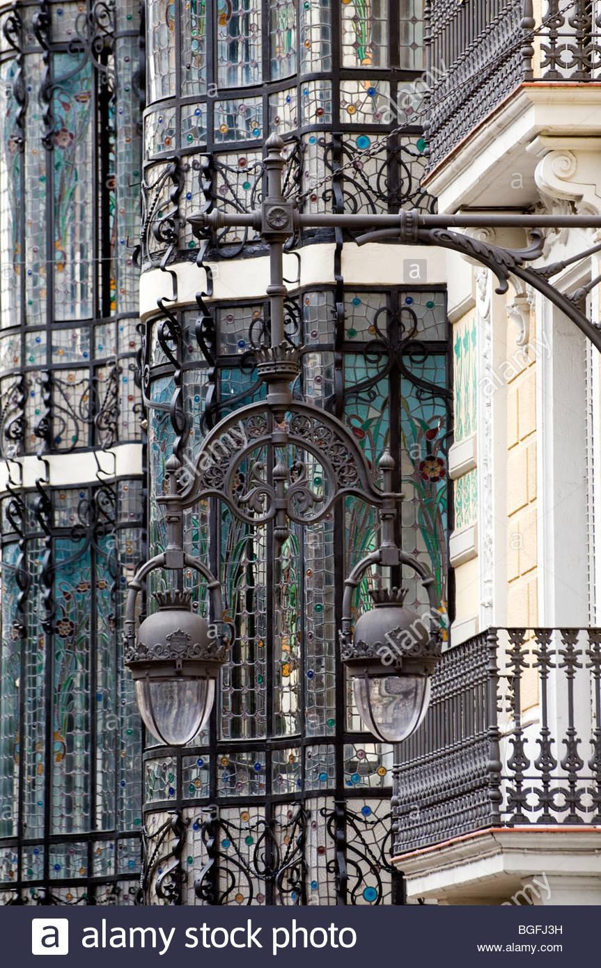 art nouveau facade stock photos art nouveau facade stock images art nouveau bow window barcelona catalunya spain stock image