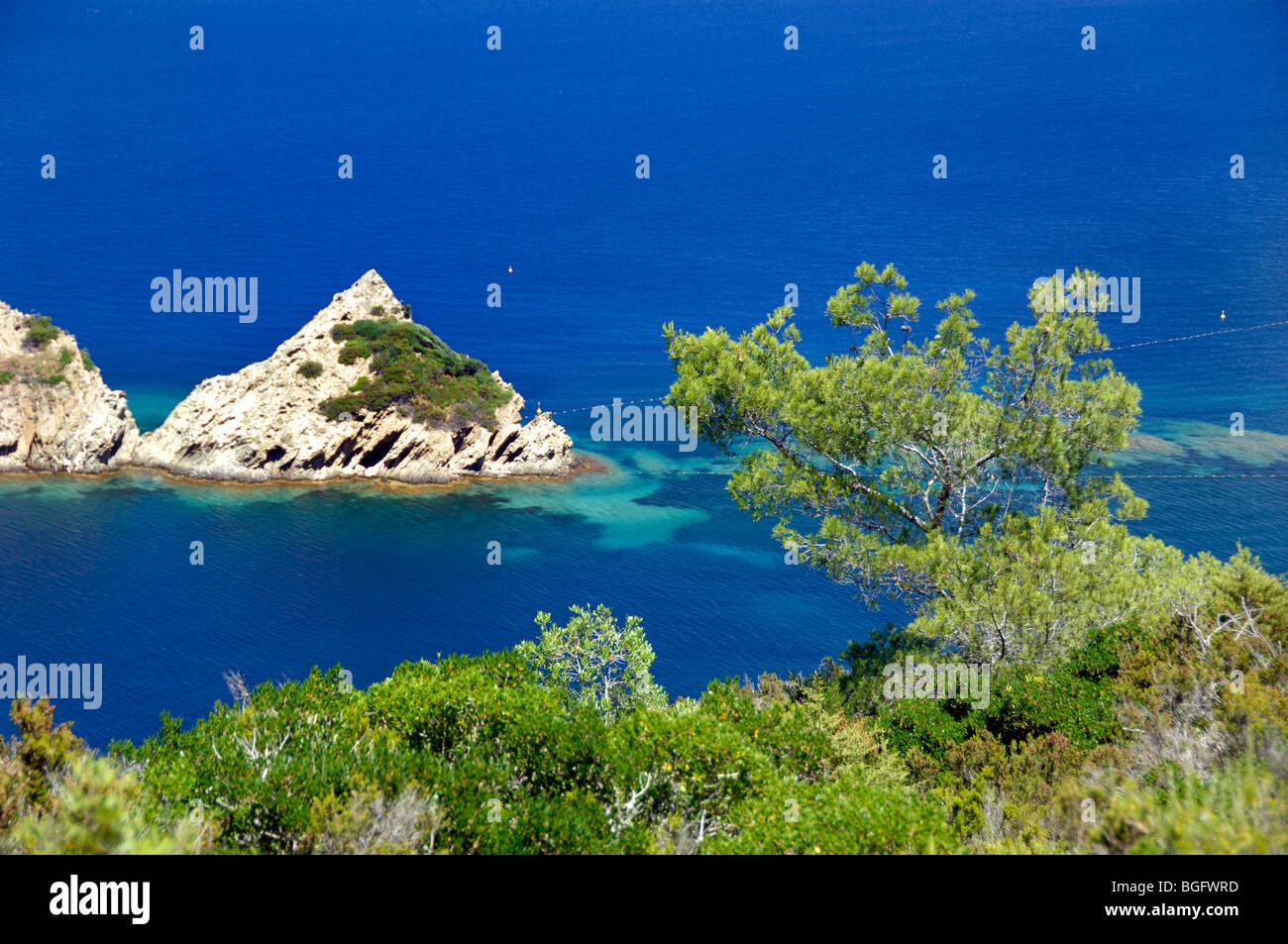 Rascas Rocks Mediterranean Coast Port Cros Island National Park - Location port cros