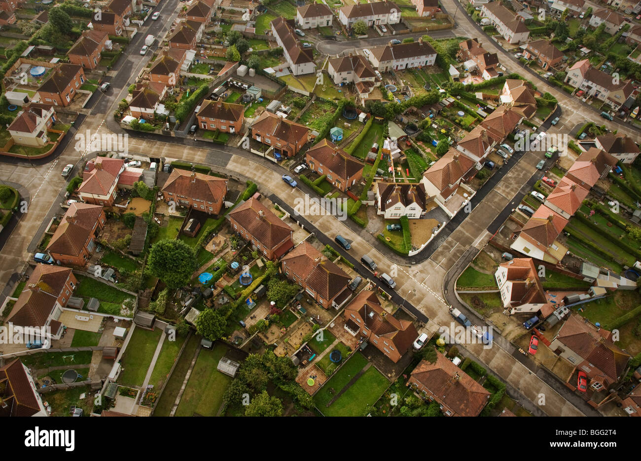english council estate suburbia from the air stock photo royalty