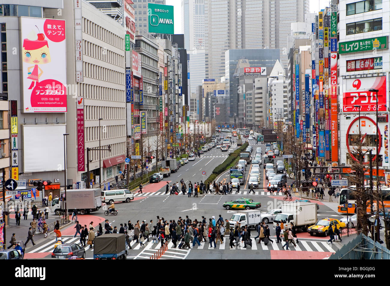 View of a busy street, Tokyo, Japan, high angle view Stock ...