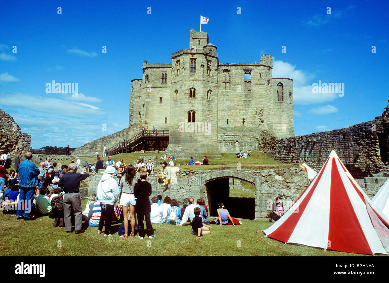 Warkworth Castle Northumberland Medieval historical re-enactment people visitors English England UK living history tent tents & Warkworth Castle Northumberland Medieval historical re-enactment ...