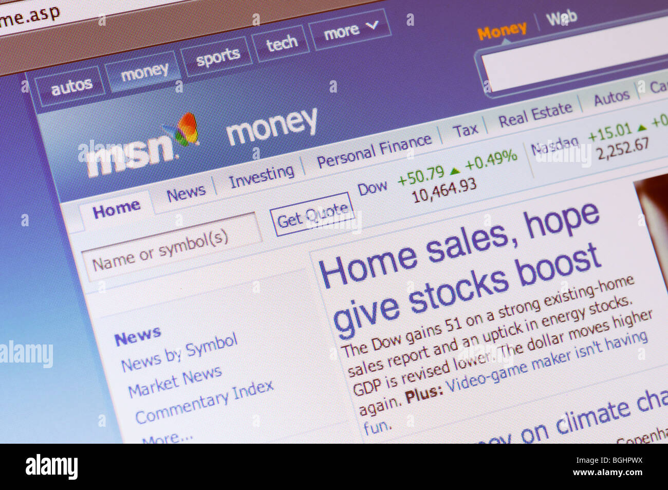 Msn Stock Quotes Msn Money Website Stock Photo Royalty Free Image 27436022  Alamy