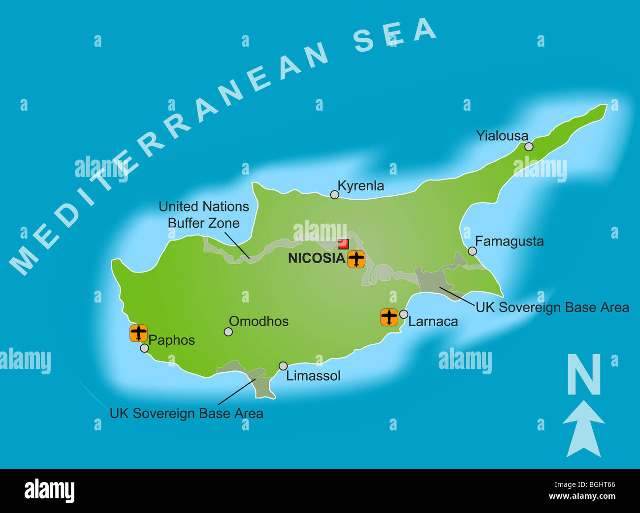 A stylized map of cyprus showing different cities airports both a stylized map of cyprus showing different cities airports both uk sovereign base areas and the united nations buffer zone gumiabroncs Choice Image