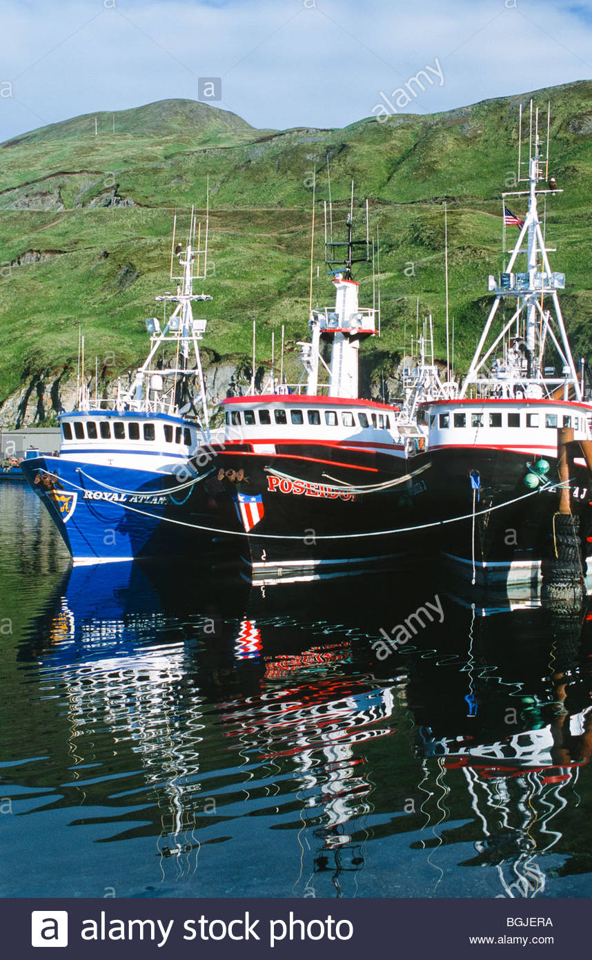 Grand aleutian hotel in dutch harbor - Unalaska Dutch Harbor Commercial Fishing Vessels Stock Image