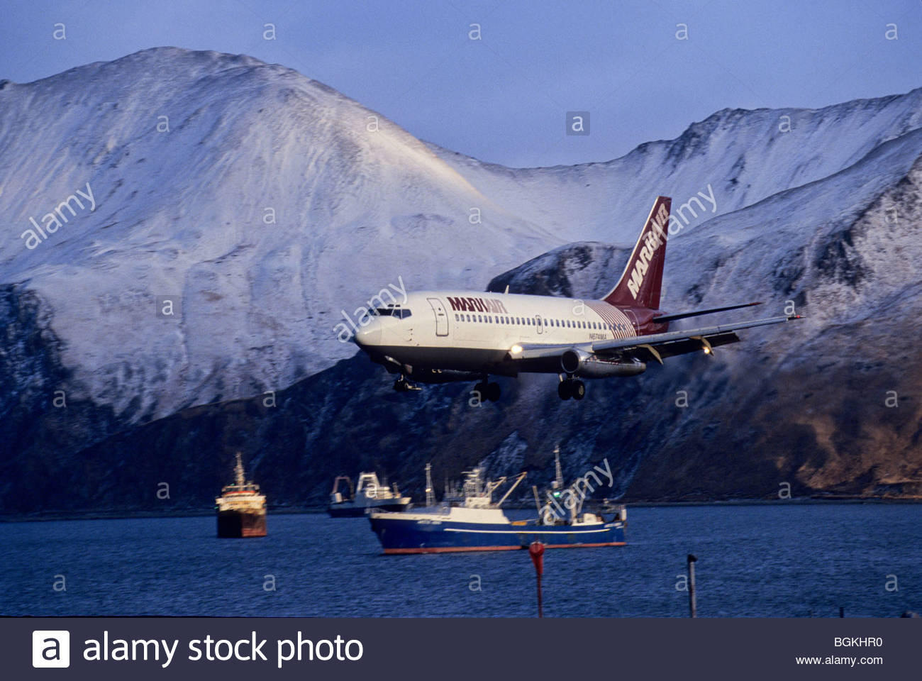 Grand aleutian dutch harbor alaska - Alaska Dutch Harbor Markair Jet Lands At Airport Fishing Trawlers Behind