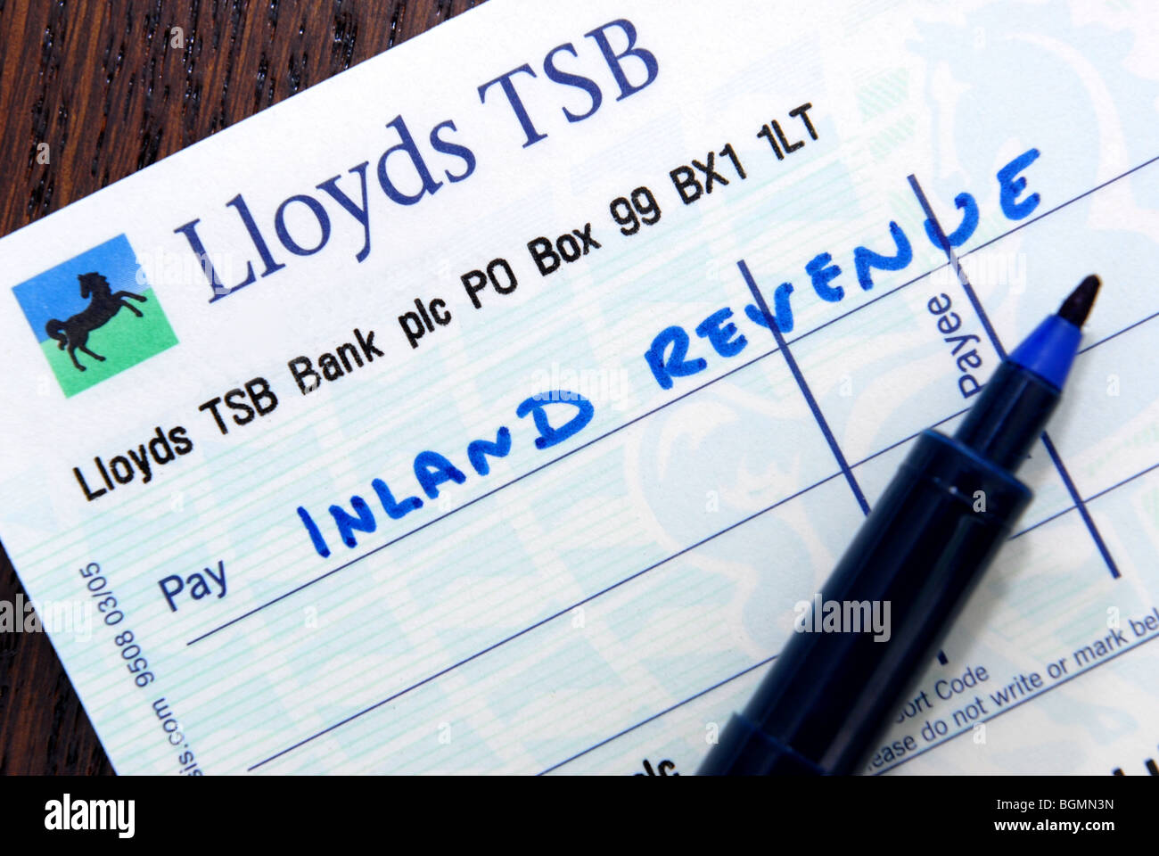 Cheque to the inland revenue to illustrate lloyds tsb and paying cheque to the inland revenue to illustrate lloyds tsb and paying money back to the tax man ccuart Images