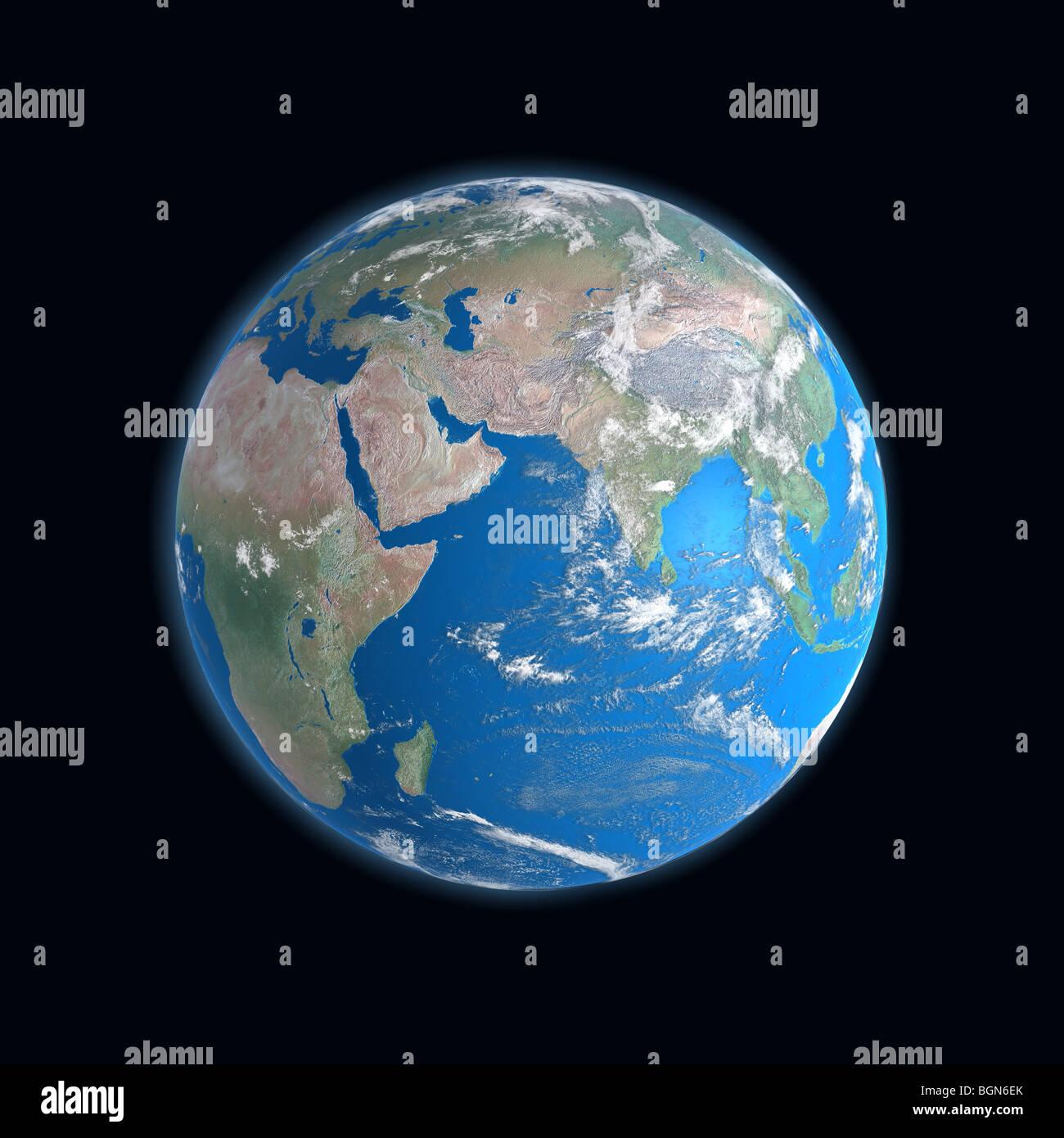 High Detailed Earth Map Africa Asia Arabia Somalia