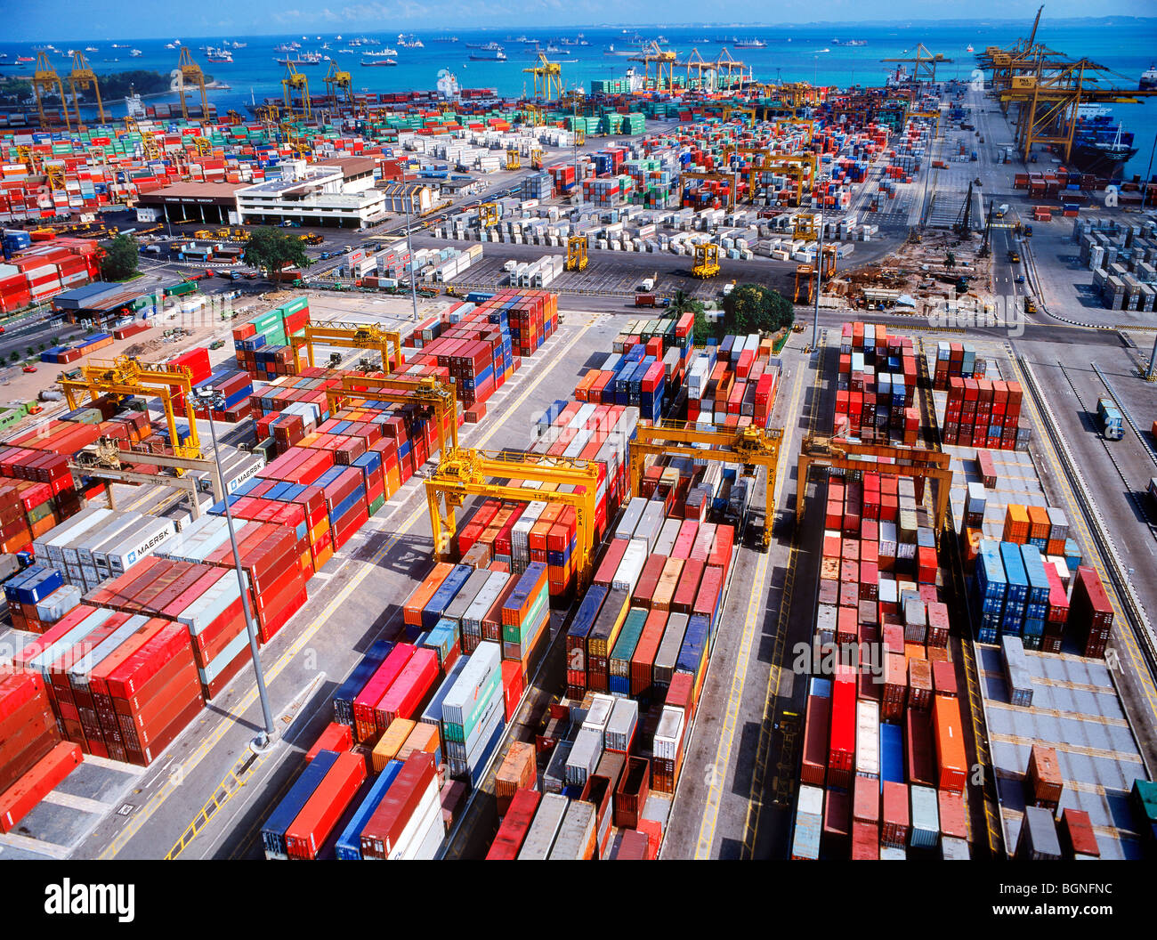 Overview Of Cargo Container Docks In Singapore Packed With