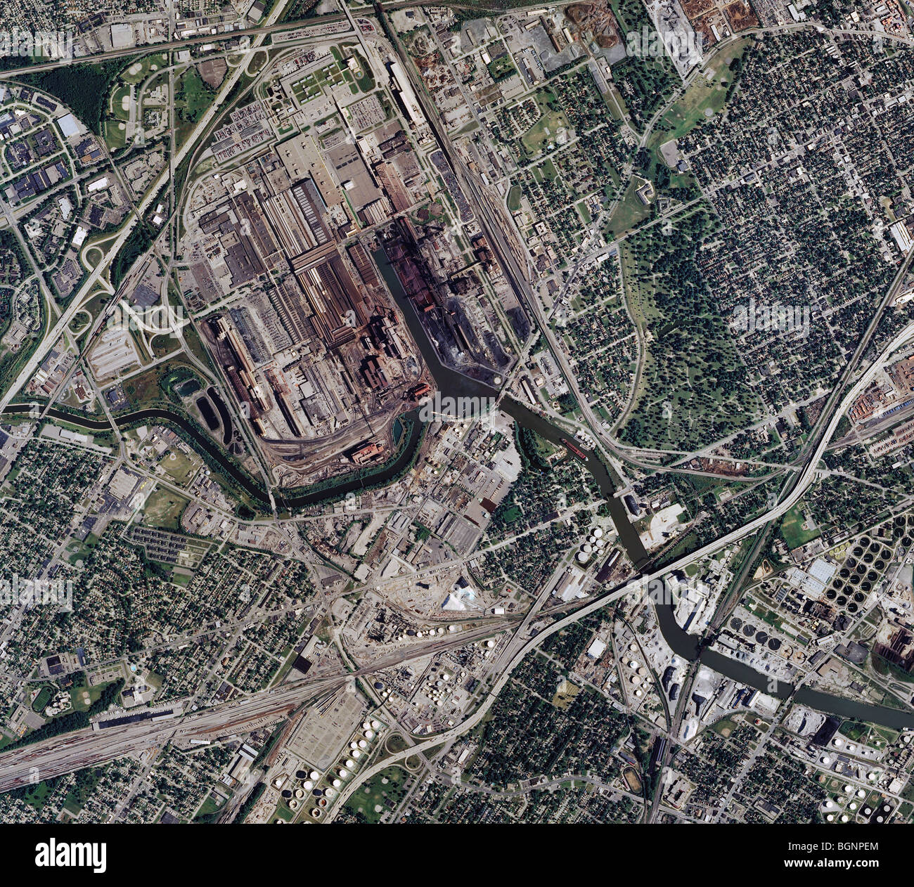 Ford Rouge Plant Map >> aerial map view above Rouge River Ford Plant Detroit Michigan Stock Photo, Royalty Free Image ...