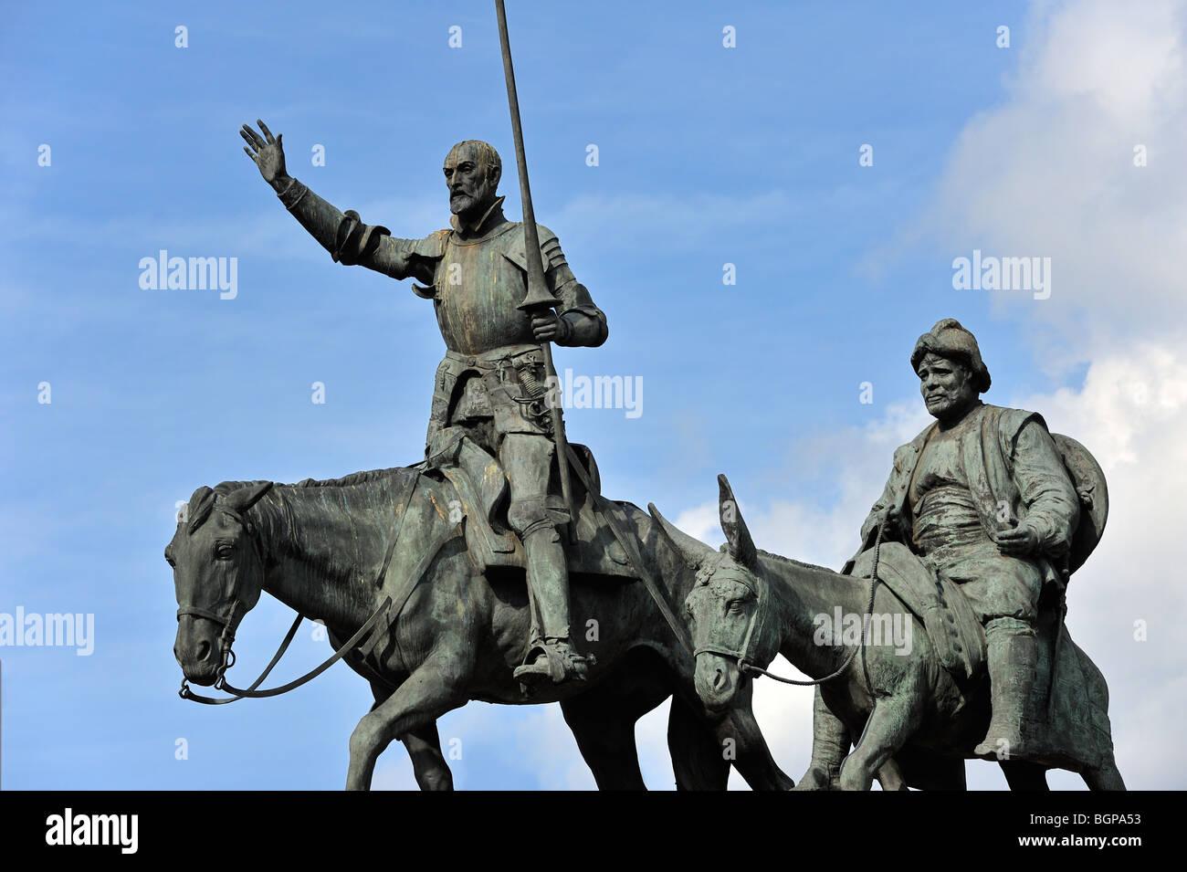 Statue of Spanish Don Quixote of La Mancha and Sancho Panza at the ...