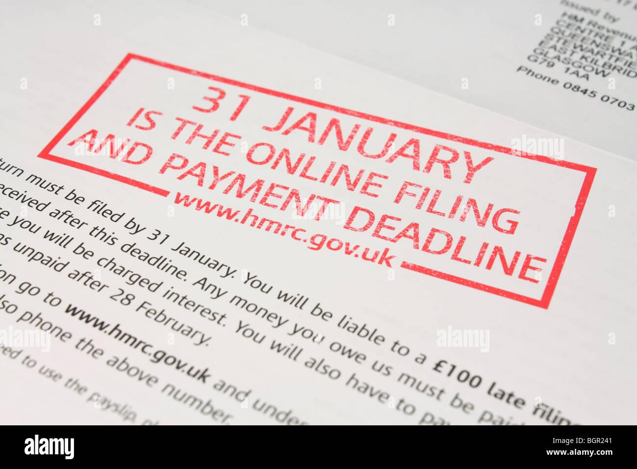 Reminder Letter From Hmrc For Filing Of Selfassessment Tax Return